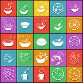 Flat Fast Food Packaging Cooking Process Icons Set