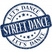 Street Dance Blue Vintage Grungy Isolated Round Stamp