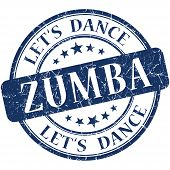 stock photo of zumba  - Zumba blue vintage grungy isolated round stamp - JPG