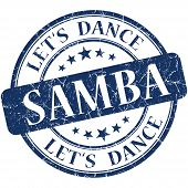 Samba Blue Vintage Grungy Isolated Round Stamp