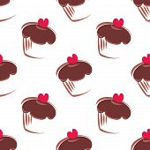 Seamless vector pattern or texture with chocolate cupcakes, muffins, sweet cake and pink hearts