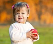 Baby Girl In The Autumn Park Holding Red Apple