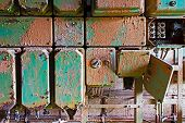 picture of contactor  - Old and dirty electrical panel on a wall - JPG