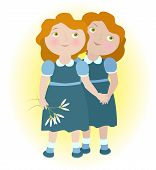 Twin Girls Holding Hands Illustrate Zodiac Sign Gemini.