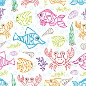 Funny Sea Life and Fish.Colored Doodle seamless pattern