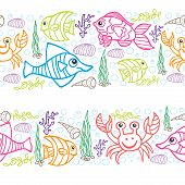 Funny Sea Life and Fish.Colored Doodle seamless  border
