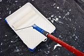Painter tool on a plastic to protect the floor