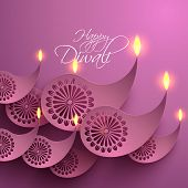 stock photo of kolam  - Vector Paper Diwali Diya  - JPG