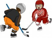 Illustration Featuring Little Boys Playing Ice Hockey