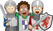Illustration of a Group of Boys Wearing Knight Costumes
