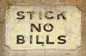 Stick no Bills sign