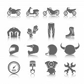stock photo of black pants  - Set of motorcycles helmet gloves boots jacket pants riders icons in gray color with reflection - JPG
