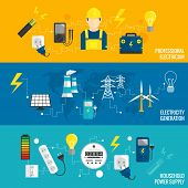 image of voltage  - Set of line banner energy generation electricity transformer banners in flat style icon vector illustration - JPG