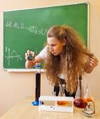 Girl Working In Chemistry Laboratory