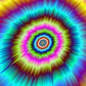 image of psychedelic  - A digital abstract fractal image with a psychedelic tie dye explosion design in turquoise red blue yellow pink and green - JPG