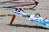 A Kite surfboard In The Beach