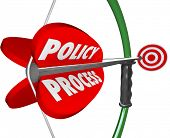 Policy and Process words on a bow and arrow aiming bullseye system or set regulations