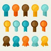 Set of colored badges, labels, awards in flat design style.