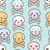 Seamless kawaii cartoon pattern with cute skulls.