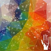 Colorful bright triangle background. Web, website, mobile device wallpapers design. Voting hand on r
