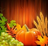 stock photo of fall-wheat  - Vector background for Thanksgiving Day with apples - JPG