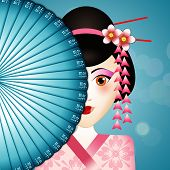 picture of geisha  - An illustration of a beauty Geisha with fan - JPG