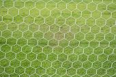 Abstract Soccer Goal Net Pattern With Green Grass