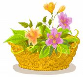 Basket with flowers alstroemeria