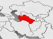 Map of worlds. Turkmenistan. 3d