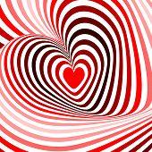 Design Hearts Twisting Movement Illusion Background