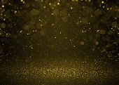image of flashing  - Higlighted bokeh gold sparkle glitter background - JPG