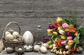 Easter Decoration With Eggs And Tulip Flowers