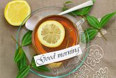 Good morning card with lemon tea