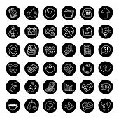 Hand drawn business buttons set.