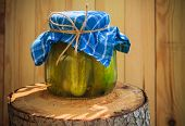 Jar Pickled Cucumbers Wooden Stump