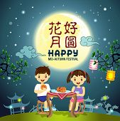 stock photo of mid autumn  - Mid Autumn Festival vector background with enjoying mooncake - JPG