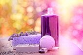Spa concept - lavender soap and oil