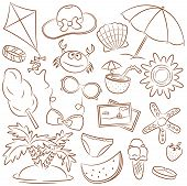 Summer Beach Rest Icons Set