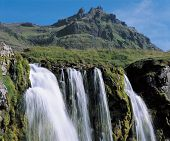 Waterfall in Mountainous Area