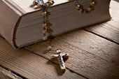 picture of prayer beads  - still life with bible and prayer beads