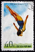Postage Stamp North Korea 1975 Diver, Woman