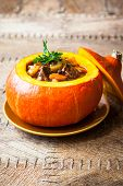 Beef stew with vegetables  in pumpkin