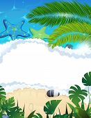 Beach With Starfishes And Palm Branches