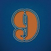 Number 9 made from leather on jeans background - vector illustration