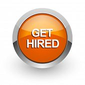 get hired orange glossy web icon