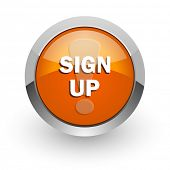sign up orange glossy web icon