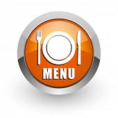 menu orange glossy web icon