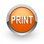 print orange glossy web icon