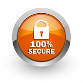 secure orange glossy web icon