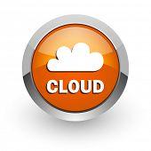 cloud orange glossy web icon